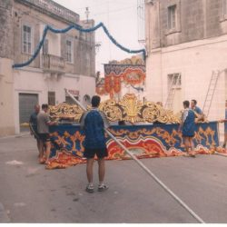 Decorated homes for the Feast in 1995