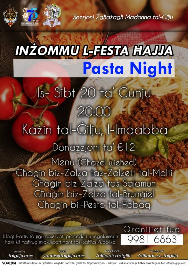 Pasta Night - 18 June 2020